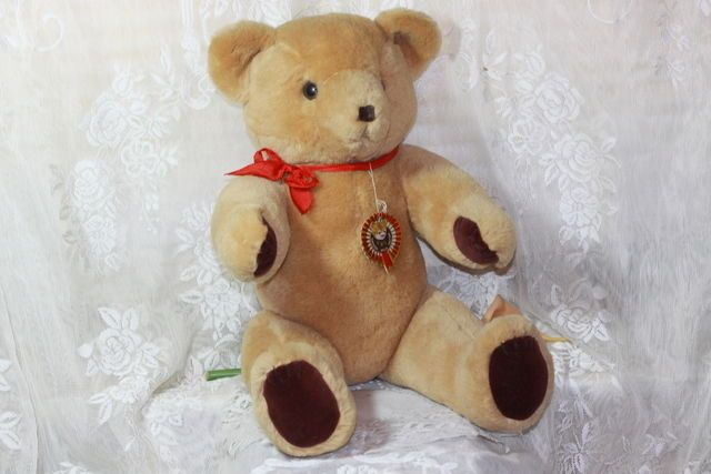 18 INCH Shanghai Doll Factory Jointed Teddy Bear Wool Plush Vintage 1950s 60s    #ShanghaiDollFactory #na