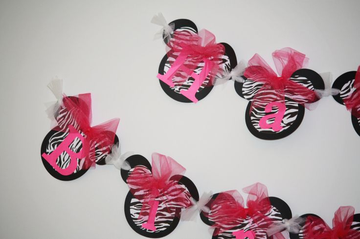 DYI Happy Birthday Zebra Minnie Mouse Banner, Pink Birthday Banner Handmade Kit, Do it Yourself Disney Princess Party Decorations.