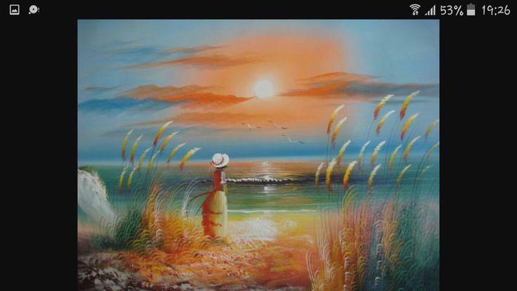 Pictură cu apus de soare