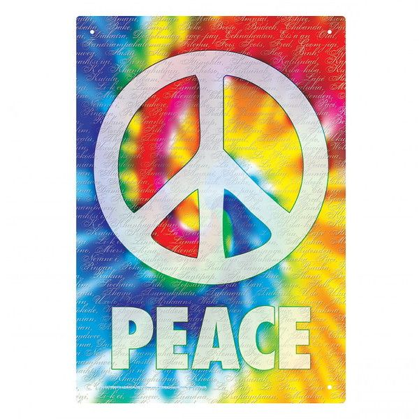 Peace Sign Wall Decor Metal : Peace symbol tie dye s style hippie metal sign