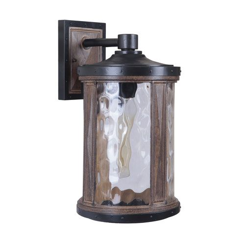 Madera Textured Black Whiskey Barrel One-Light 16-Inch Outdoor Wall Mount