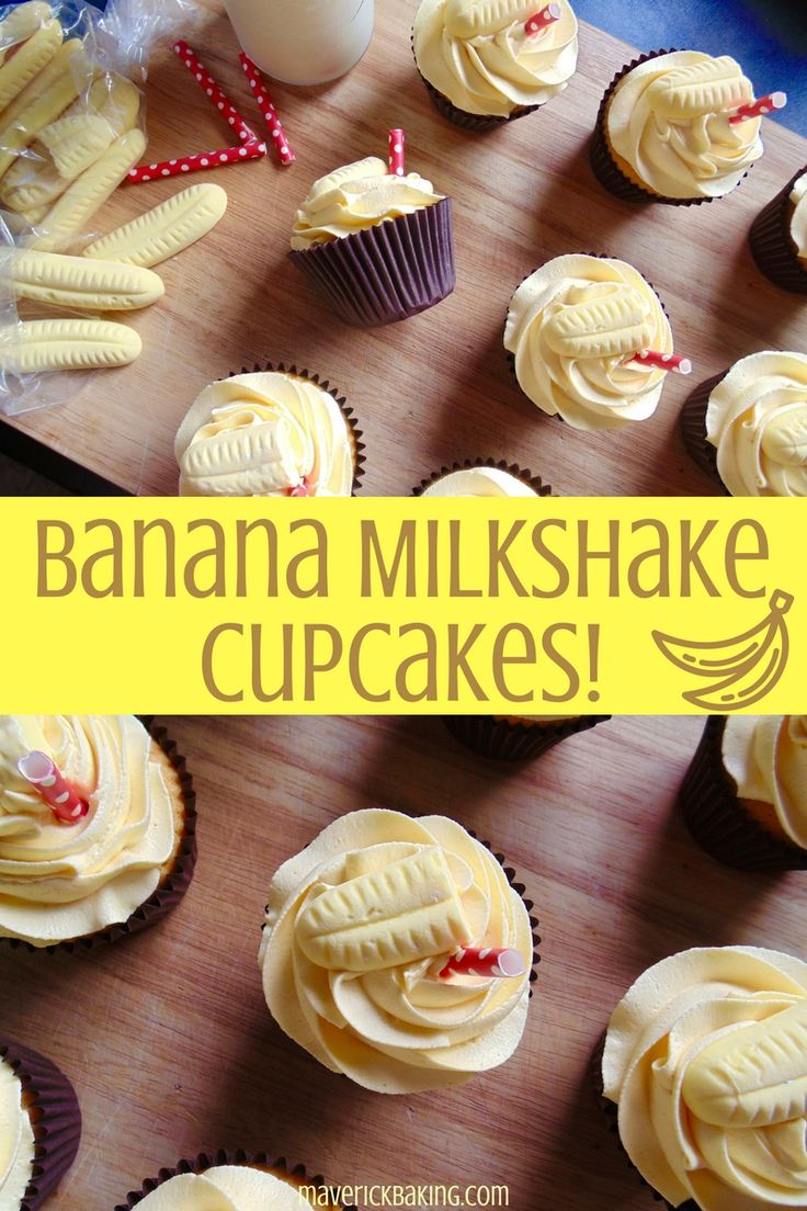 Banana Milkshake Cupcakes; fluffy little cakes swirled with light sweet buttercream icing, laced with the nostalgic flavour of banana milkshake!