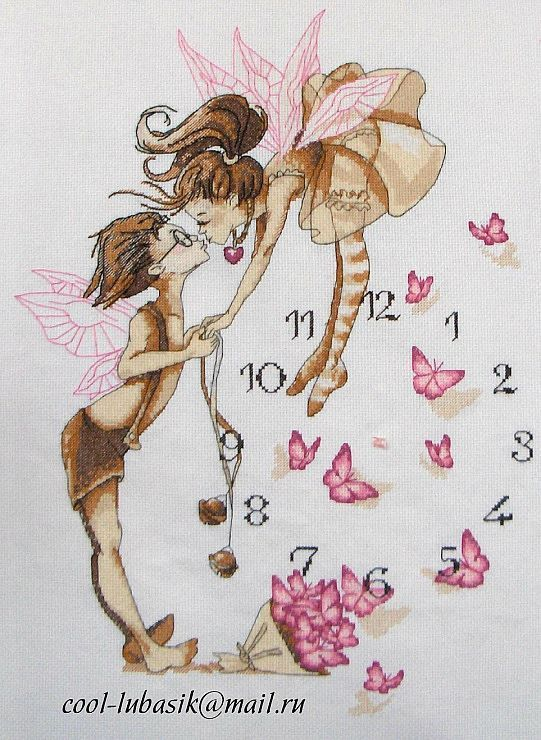 Cross Stitch free Pattern... clock fairies