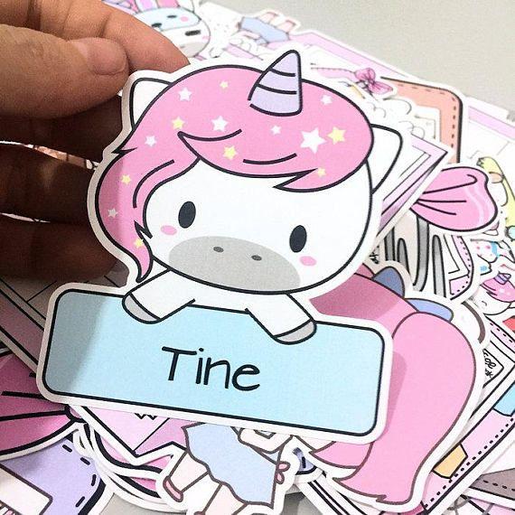 Dc057 customizable planner die cuts unicorn die cut planner girl die cuts personalise