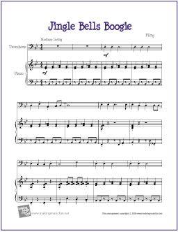 Jingle Bells Boogie | Free Sheet Music for Trombone - http://makingmusicfun.net/htm/f_printit_free_printable_sheet_music/jingle_bells_boogie_trombone.htm
