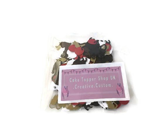 Cat themed birthday party table confetti-BlackBrownWhite