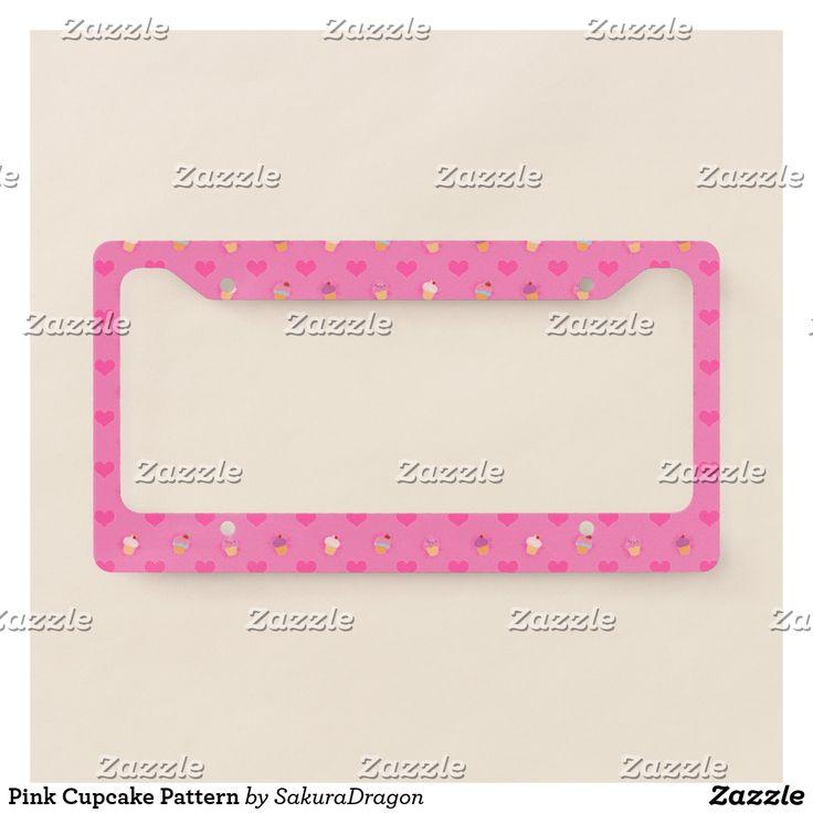 Pink Cupcake Pattern License Plate Frame #pink #cupcake #pattern #food #kawaii