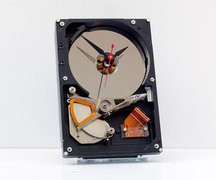 upcycled desk clock, geek gift,  computer disk clock, industrial  style clock, steampunk clock, unique, Recycled Computer Hard Drive Clock by pixelthis on Etsy