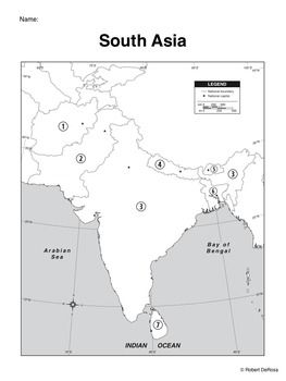 Map Activity – South Asia - In this activity, students must locate and identify the countries (and capital cities if so desired) of South Asia. Included in this package is a ready-to-copy blackline master map of South Asia along with a separate answer key. This product can also easily be used as a test or quiz. Preview file is available for download. $1