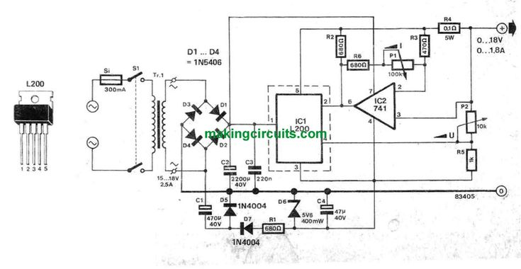fully adjustable power supply circuit schematic