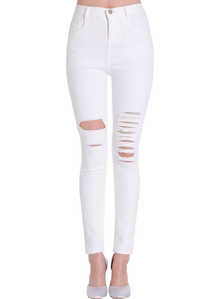 Shop White Ripped Slim Denim Pant online. SheIn offers White Ripped Slim Denim Pant & more to fit your fashionable needs.