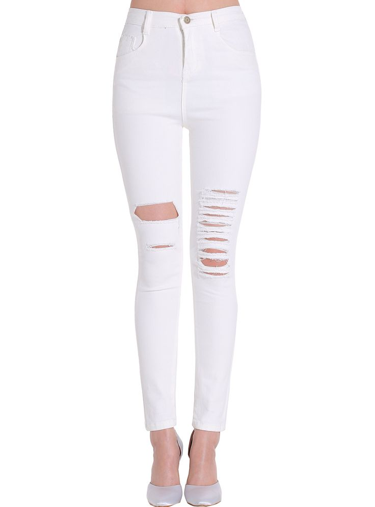 Las 25 mejores ideas sobre pantalones vaqueros rotos en pinterest y m s camisetas converse - Como hacer blanco roto ...