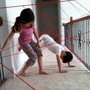 """""""Spy Training"""" - Kids will LOVE this idea. Tape string up in a hallway in different positions and have them practice going through the """"laser beams""""."""