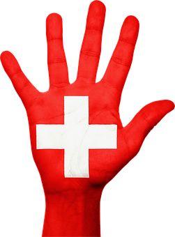 Schweiz, Flagge, Hand, Nationalen