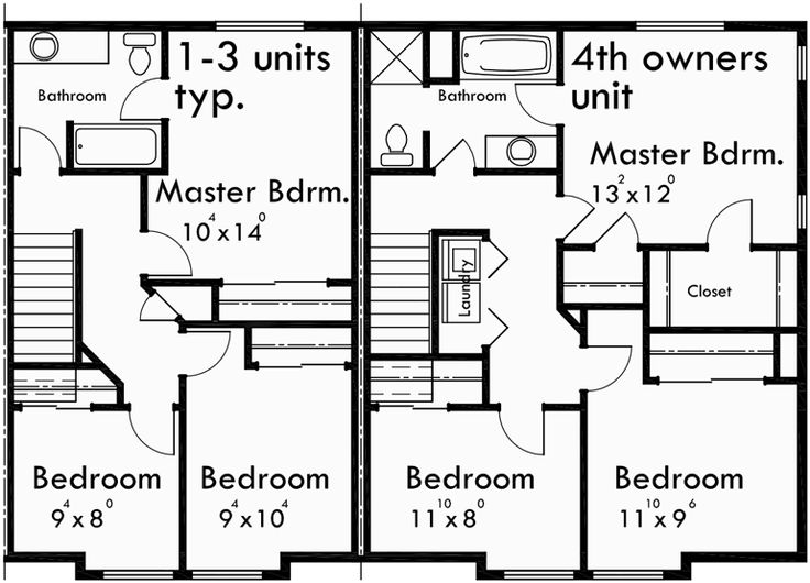 4 plex plans fourplex with owners unit quadplex plans f for Fourplex design plans