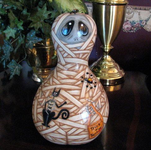 Unique Hand Painted Mummy Halloween Gourd by JennysToleShed, $75.00....He is so wonderful...love this