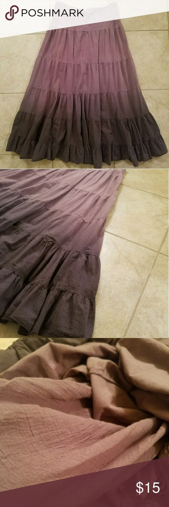 Mlle Gabrielle Ombre Deep Purple Plum Maxi Skirt Beautiful, Flowy Deep Purple/ Plum Colored Mlle Gabrielle Ombre Maxi Skirt! Unique in everyway! Made in India from 100% Cotton, very Soft and in Good Condition! Has an attached cotton under slip, that goes approx. 1/3 of the way down from the top of the skirt for extra coverage in that area! Elastic waist band and approx. 35 inches from waist band to bottom of the skirt. Size Small. Mlle Gabrielle Skirts Maxi