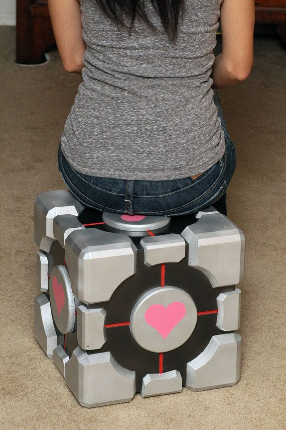 Portal Weighted Companion Cube Storage Box by EpicWood (it's huuuuge!!)
