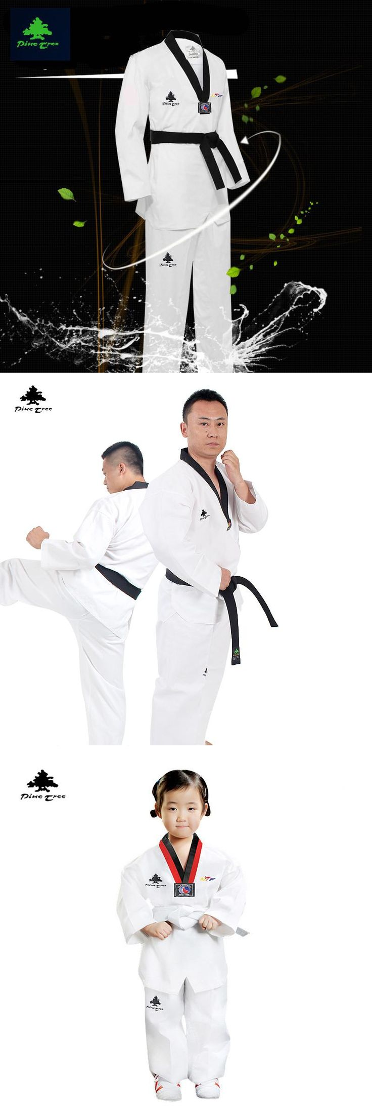 [Visit to Buy] MOOTO WTF Dobok Taekwondo Uniform Kukkiwon Korea Taekwondo Dobok with Special Fabric cooton black -v neck #Advertisement