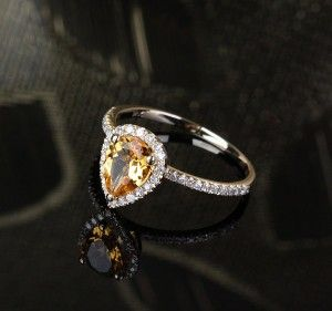 1.7 ct Citrine Engagement Ring with 0.2 cttw...