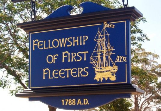 Heritage hand crafted sign for the Fellowship of the First Fleeters / Danthonia Designs
