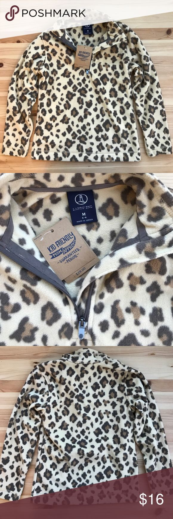LAND'S END girl's leopard pullover NWT LAND'S END leopard pullover. Girl's size M (5-6). Lands' End Shirts & Tops Sweatshirts & Hoodies