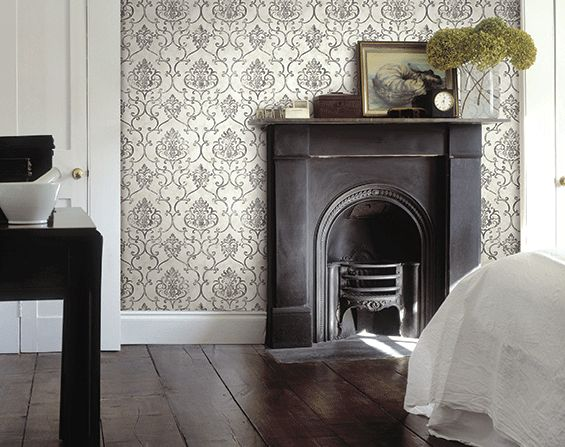 love wallpaper. adds such a cozy, vintage feel.  might love old fireplaces even more.