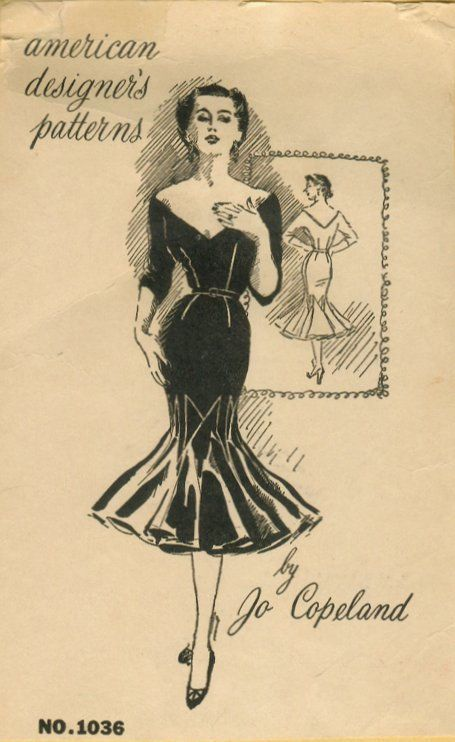 1950s Vintage Sewing Pattern B36 1/2 WIGGLE DRESS (R756) By Jo Copeland