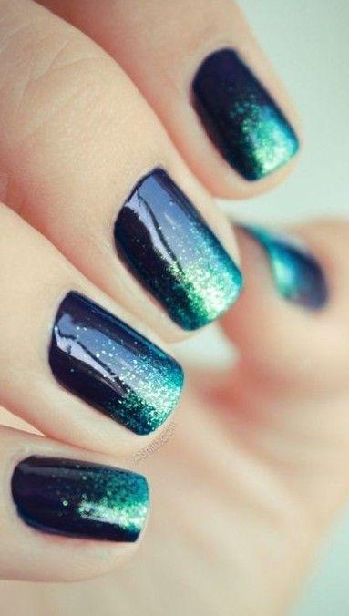 Ombre + Square + Black & Green + Glitters