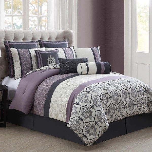 Darla 10-Piece Comforter Set in Purple/Grey ($90) ❤ liked on Polyvore featuring home, bed & bath, bedding and comforters