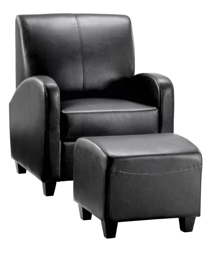 """Black Club Stool & Chair  These attractive faux leather Club chairs and complementary stools are the perfect place to """"take the weight off"""" and relax a while. Supplied fully assembled in one carton.  Stool Dimensions: W500mm x D470mm x H430mm Chair Dimensions: W755mm x D750mm x H920mm"""