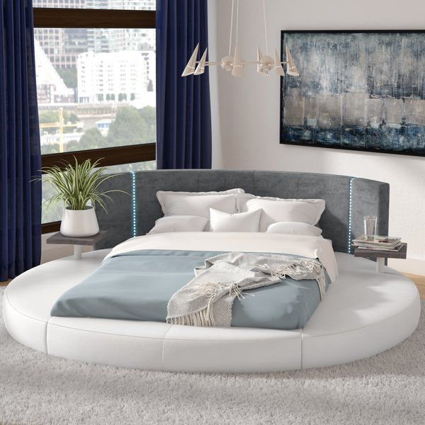 This Bed Is A Low Profile Bed With Excellent Contrast Design The Headboard Is Upholstered In Gray Microfiber Fa Luxurious Bedrooms Round Beds King Storage Bed