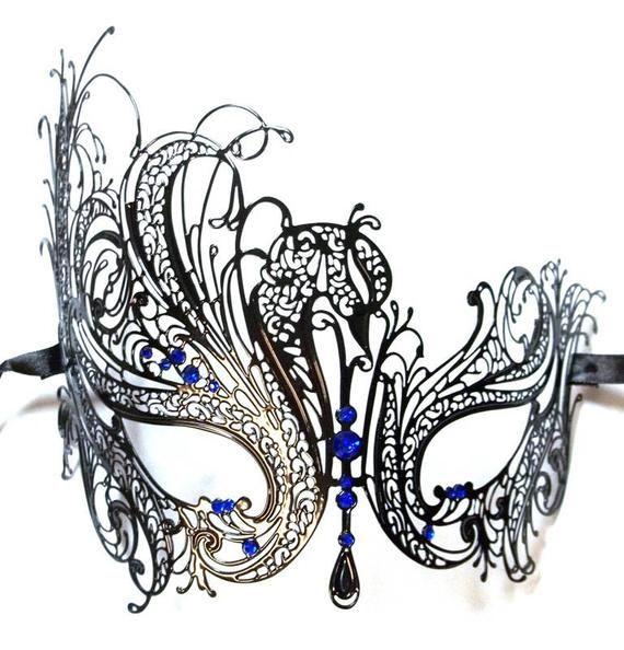 Women Swan Metal Mardi Gras Venetian Masquerade Mask with Red Rhinestones