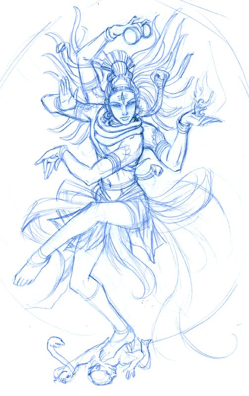 Beautiful sketch of Nataraja, the Hindu Lord of the Dance.