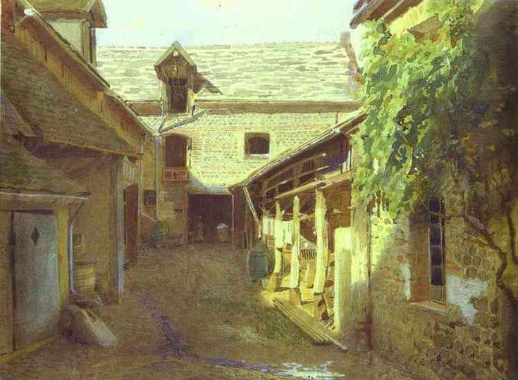 Деревенский двор во Франции - Крамской Иван Николаевич