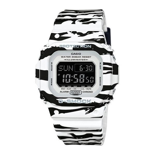 Casio Mens G Shock Black White Tiger Stripe Strap Digital