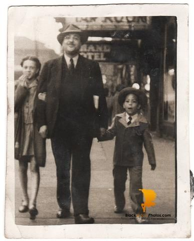 Vintage African American Family Photo Father Children Old Black History Americana