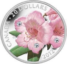 Canada - 2012 'Rhododendron' Colorized & Crystallized $20 Silver Coin .(#281)