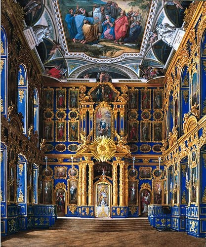 GREAT CATHERINE PALACE, TSARSKOE SELO (PUSHKIN), RUSSIA - CHAPEL 0F PALACE BUILT FOR EMPRESS CATHERINE THE GREAT