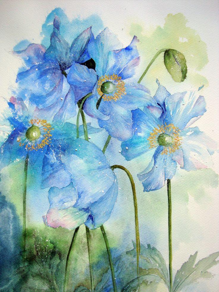 Watercolour Florals: Meconopsis. Tutorial