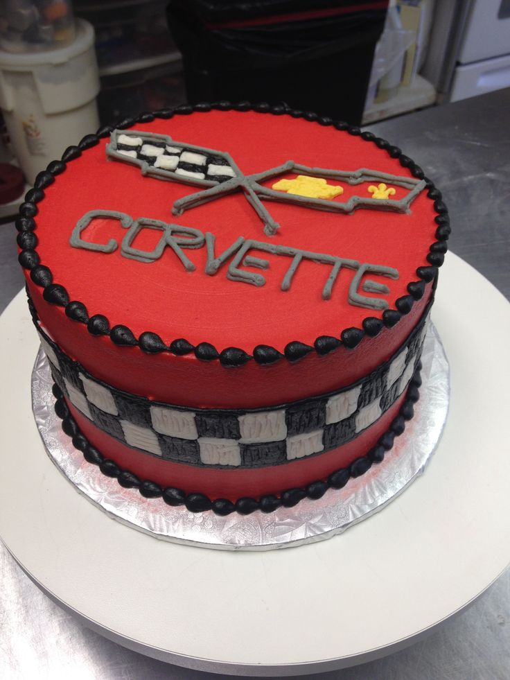 A fun cake for any Corvette enthusiast! Decorated entirely with butter cream icing.