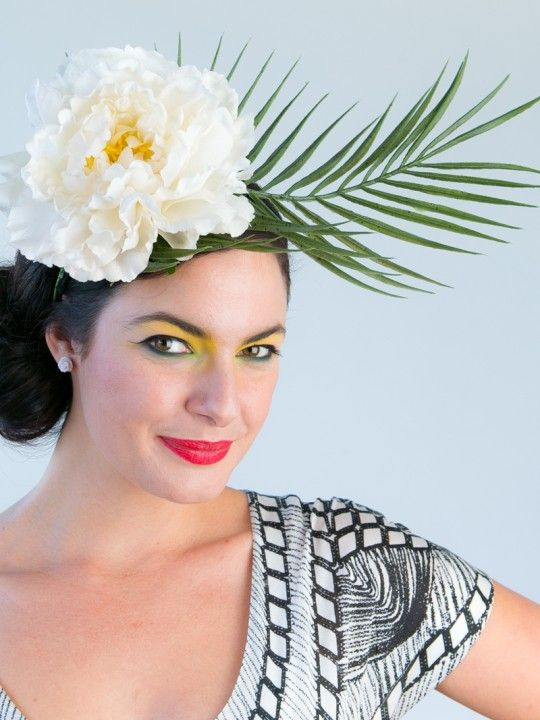 WAIKIKI | Flower & Leaf Fascinator Bridal Headpiece | FORD MILLINERY  $295  A simple, natural beauty, Waikiki is hand-crafted with a luscious white silk flower (with yellow inner), and leafy dark-green fern. A fresh addition to any Spring Racing Carnival outfit, or the final touch that will surely move your groom to tears of joy.