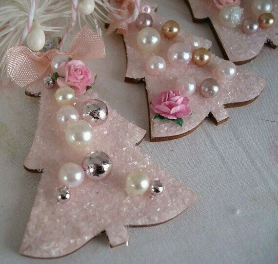 Pink Christmas tree ornaments with glitter, pearl beads, & pink roses