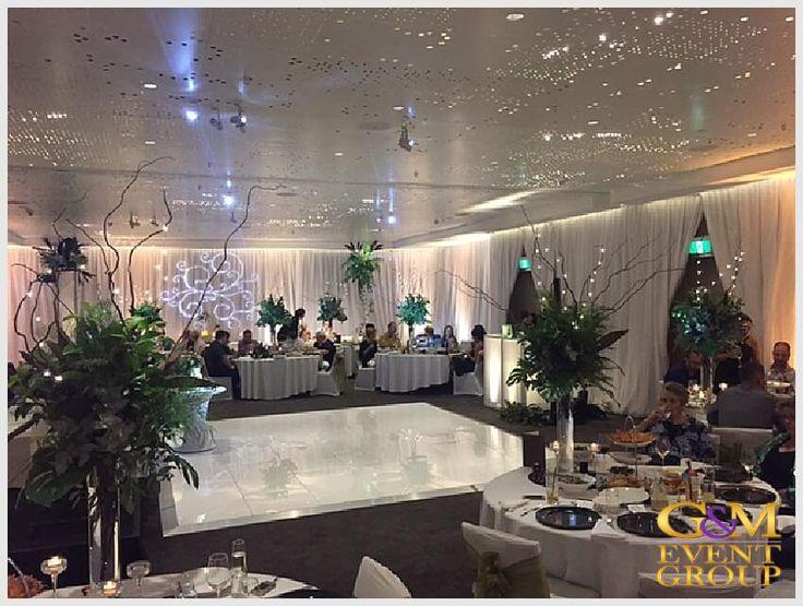 Rainforest inspired wedding reception at the Hilton Gold Coast - Room Uplighting Dance Floor Monogram Facade | Surfers Paradise | #GMEventGroup #MCGlennMackay #DJBenShipway #Uplighting #EventLighting #Monogram #DJFacade #StarlightDanceFloor #RainForestTheme