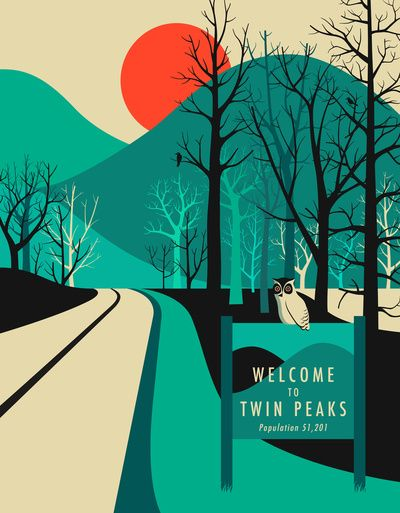 Twin Peaks Art Print. Jazzberry Blue.