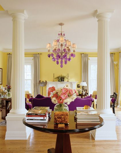 Yellow and purple contemporary living room by Capitol Lighting EH Division, INC