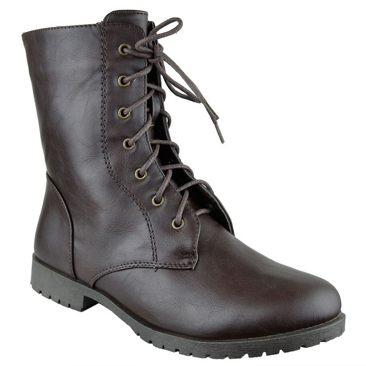 Womens Ankle Boots Lace Up Zipper Closure Motorcycle Riding Shoes Brown