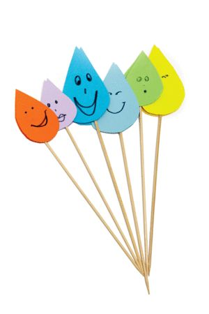Make raindrop cake toppers using sosatie sticks and coloured paper