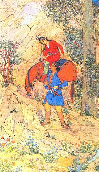 1951 miniature painting by Hossein Behzad depicting the story of Farhad and Shirin.