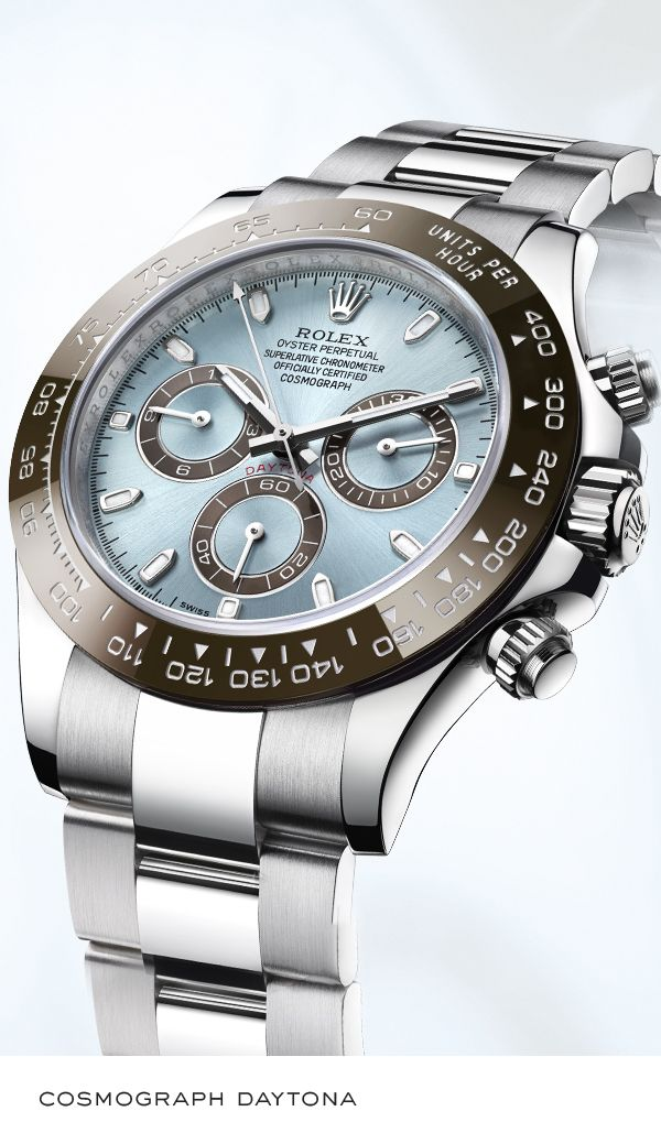 Rolex Cosmograph Daytona 40 mm in platinum with a chestnut brown monobloc ceramic Cerachrom bezel, ice blue dial and Oyster bracelet. #RolexOfficial